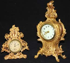 LOT OF (2) NEW HAVEN ORMOLU GOLD PLATED CLOCKS