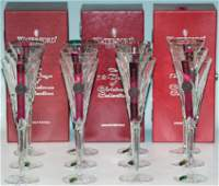 """(15) PCS. WATERFORD """"12 DAYS OF CHRISTMAS FLUTES"""""""