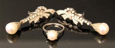 PLATINUM AND GOLD DIAMOND AND PEARL RING  EARRINGS