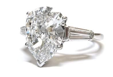 LADY'S PEAR SHAPE DIAMOND CENTER STONE 3.5 CT+