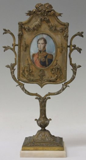 French Cast Metal Vanity Mirror With Portrait