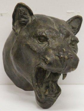 Vintage Cast Bronze Of Cougar