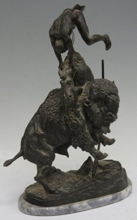 Remington Reproduction Bronze With Marble Base