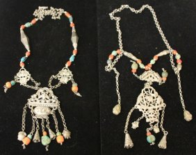 Pair Of Chinese Silver Court Necklaces