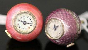 Lot Of (2) Miniature Swiss Enameled Clock/pendants