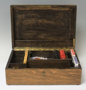 Vintage Oak Game Box With Cards And Dice
