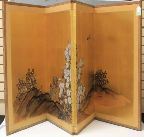 Vintage Japanese Four Panel Screen