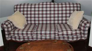 VINTAGE FRENCH STYLE SOFA WTARTAN COVER