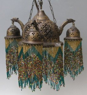 Art Nouveau Metal And Beaded Hanging Lamp