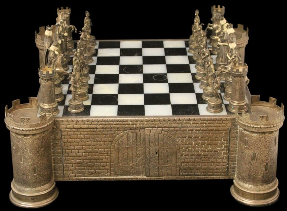GERMAN JEWEL-ENCRUSTED SILVER AND BONE CHESS SET
