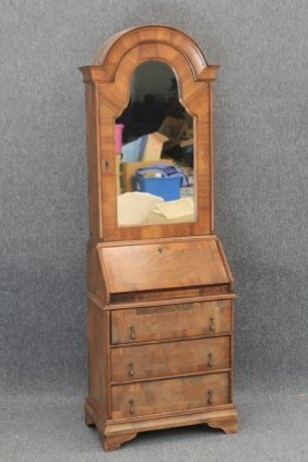 Dutch Walnut Secretary Desk With Mirrored Door