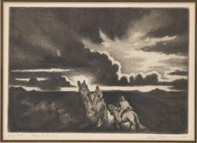 Gene Kloss, Drypoint- Riders At Sundown