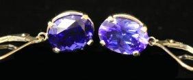 Pair Of 14kt Tanzanite Earrings