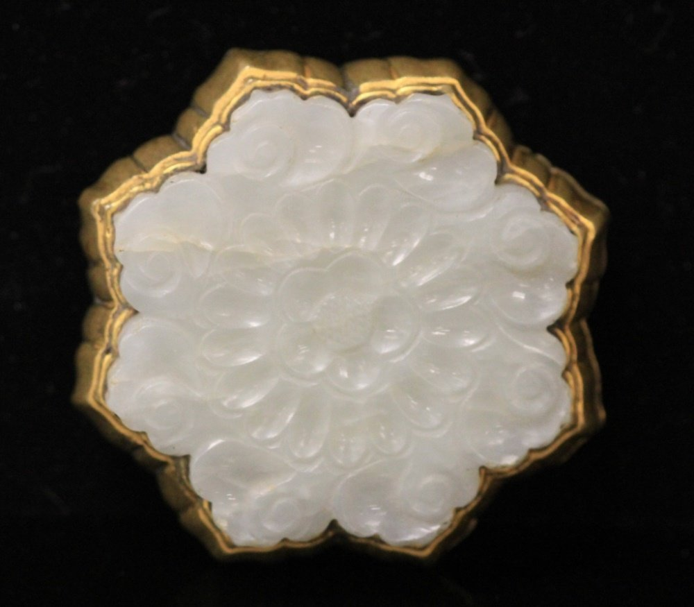 QING DYNASTY WHITE JADE CARVING- GILT BUCKLE