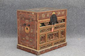 Vintage Chinese Carved Painted Chest