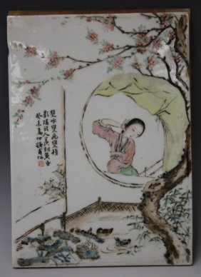 Qing Dynasty Painted Porcelain Plaque