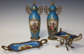 Lot Of (4) French Porcelain, Incl. Sevres Urns