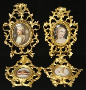 Lot Of (4) French Miniatures, Gesso Frame