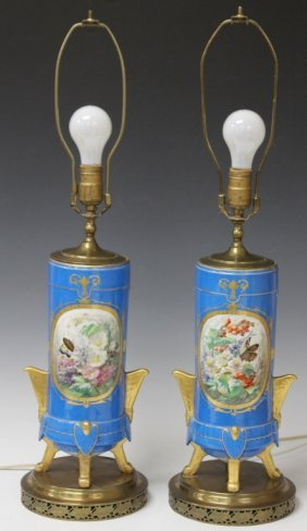 Pair Of French Porcelain Parlor Lamps