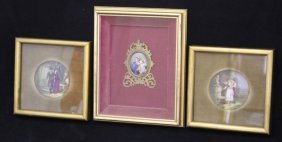 Lot Of (3) French Miniature Paintings Portraits