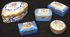 Lot Of (5) Vintage French Porcelain Dresser Boxes