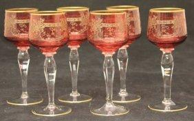 Set Of (6) Victorian Cranberry Cut Wine Glasses
