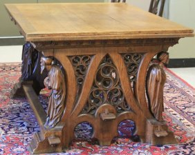 French Oak Gothic Library Table, 19th Century