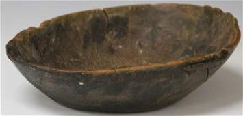EARLY BURL WOOD CARVED BOWL