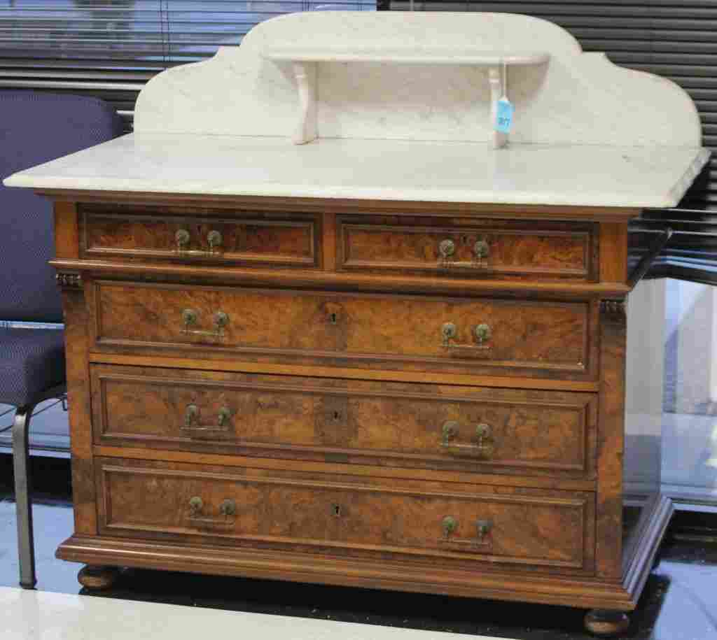 VICTORIAN WALNUT MARBLE TOP CHEST W/ DRAWERS