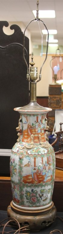 CHINESE ROSE CANTON PORCELAIN VASE, LAMP
