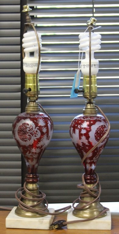 PAIR OF VICTORIAN CRANBERRY CUT LAMPS