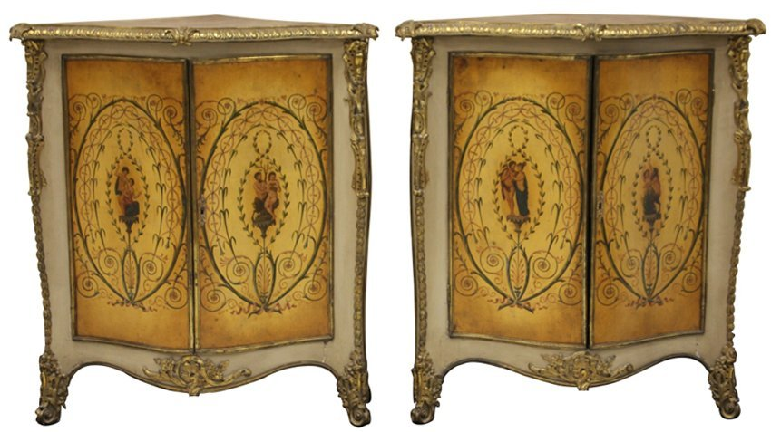PAIR OF 19TH CENTURY FRENCH VERNIS MARTIN CABINETS