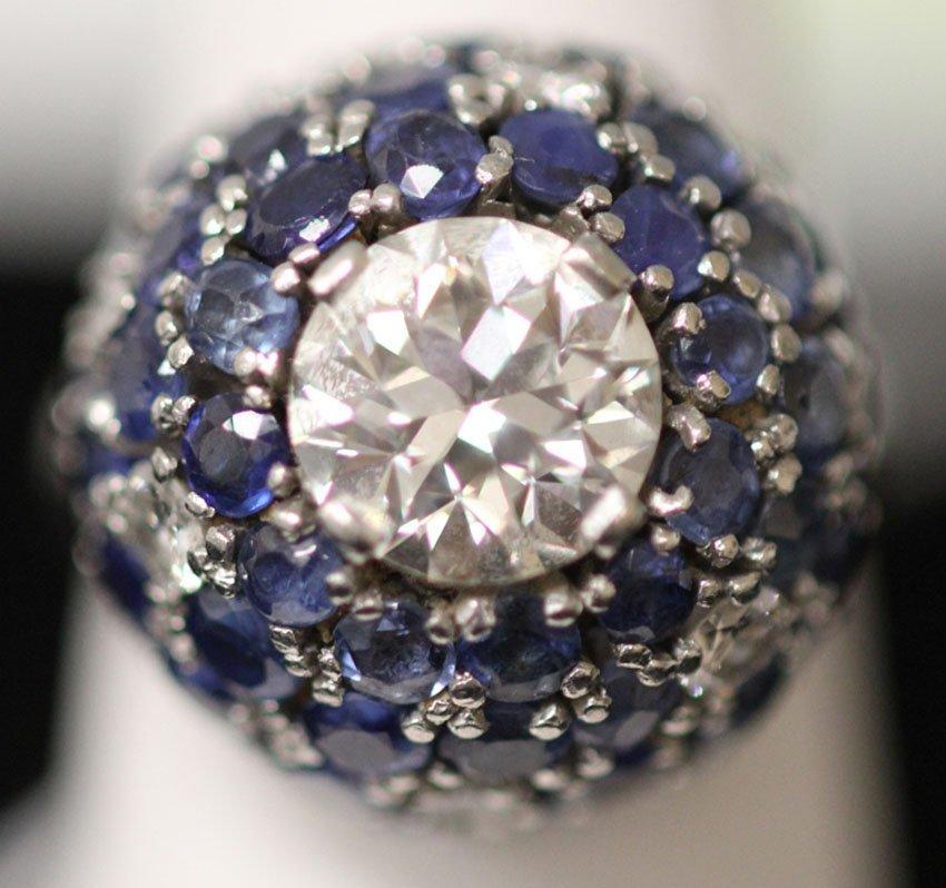 LADY'S PLATINUM 2.26CT DIAMOND AND SAPPHIRE RING