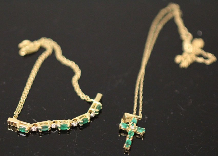 LOT OF (2) DIAMOND AND EMERALD CROSS AND BRACELET