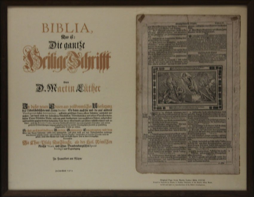 LOT OF (2) 1500s BIBLICA FRAMED PAGES