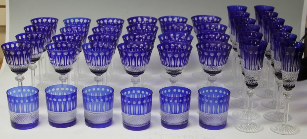 VAL ST. LAMBERT BLUE CUT-TO-CLEAR CRYSTAL STEMWARE