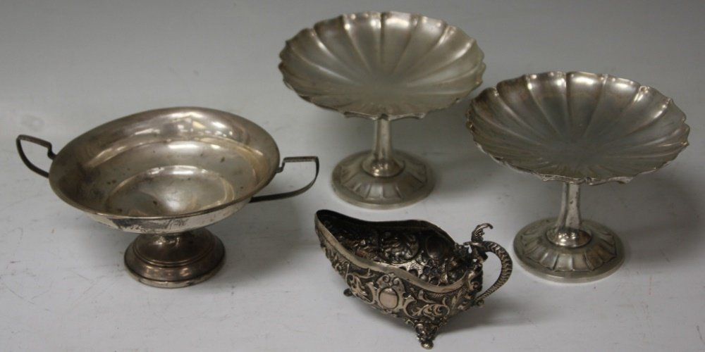 LOT OF (4) STERLING SILVER COMPOTES, PITCHER
