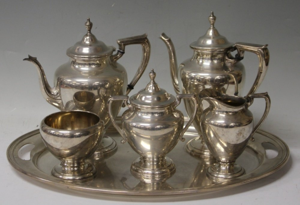 WALLACE 5PCS TEA SERVICE WITH TRAY, STERLING