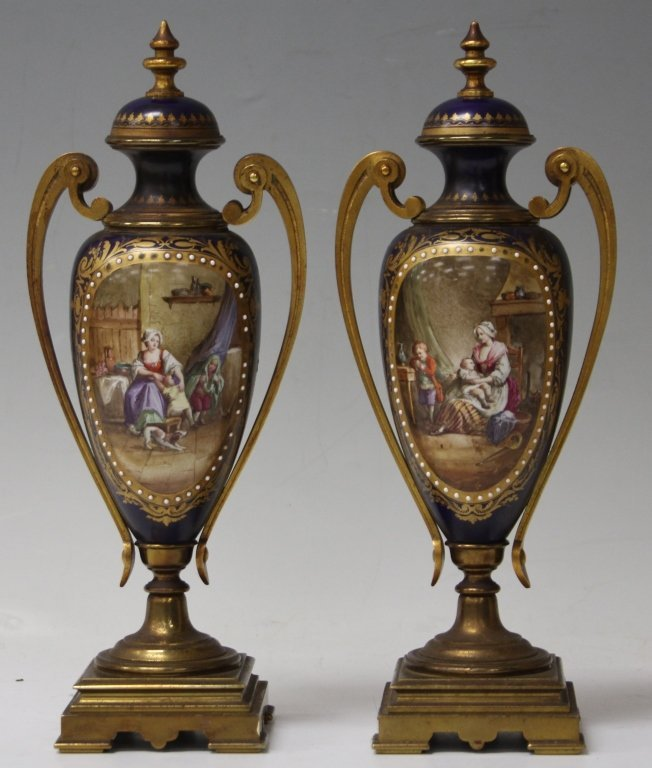 PAIR OF FRENCH PORCELAIN URNS, 19TH CENTURY