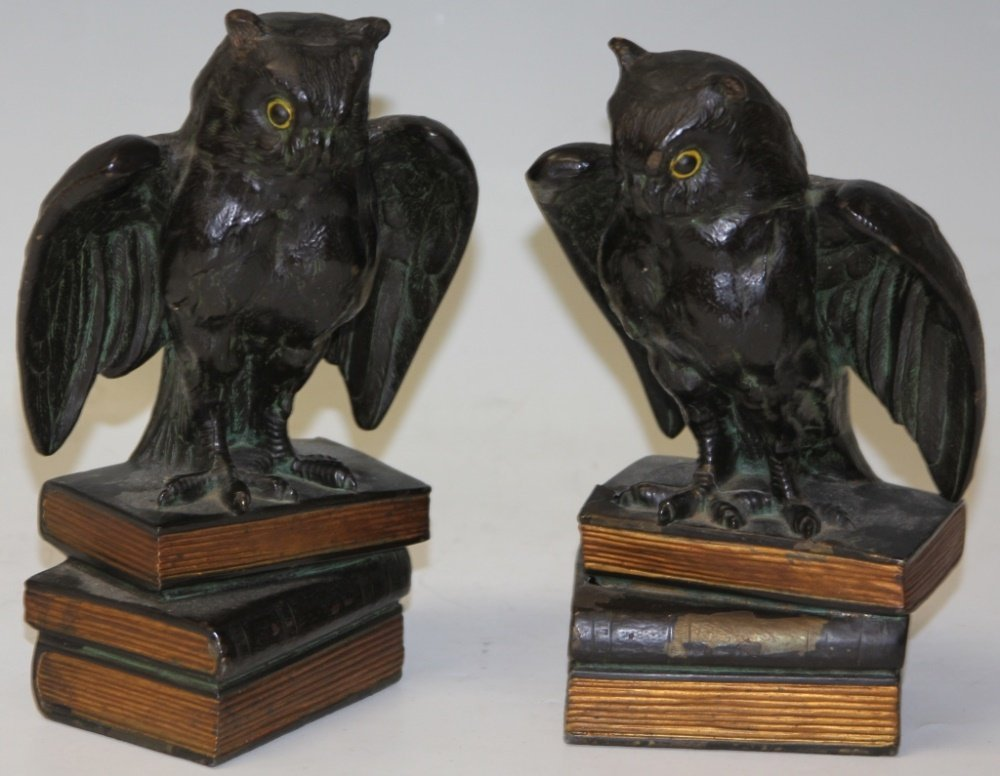 PAIR OF CAST METAL OWL BOOKENDS