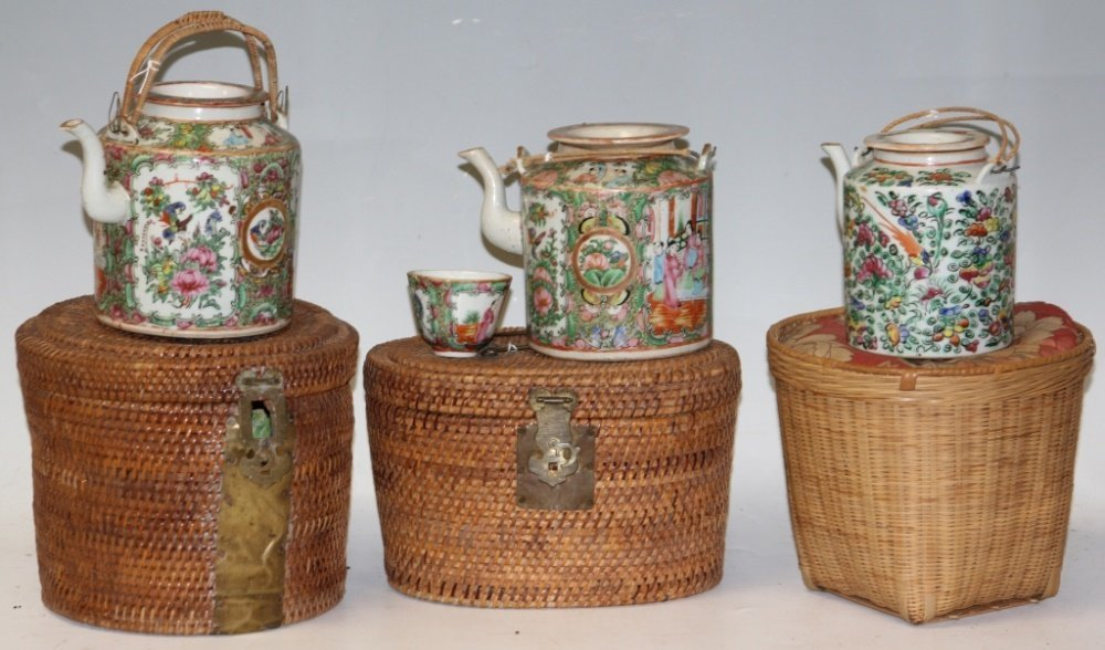 LOT OF (3) CHINESE PORCELAIN TEAPOTS W/BASKETS