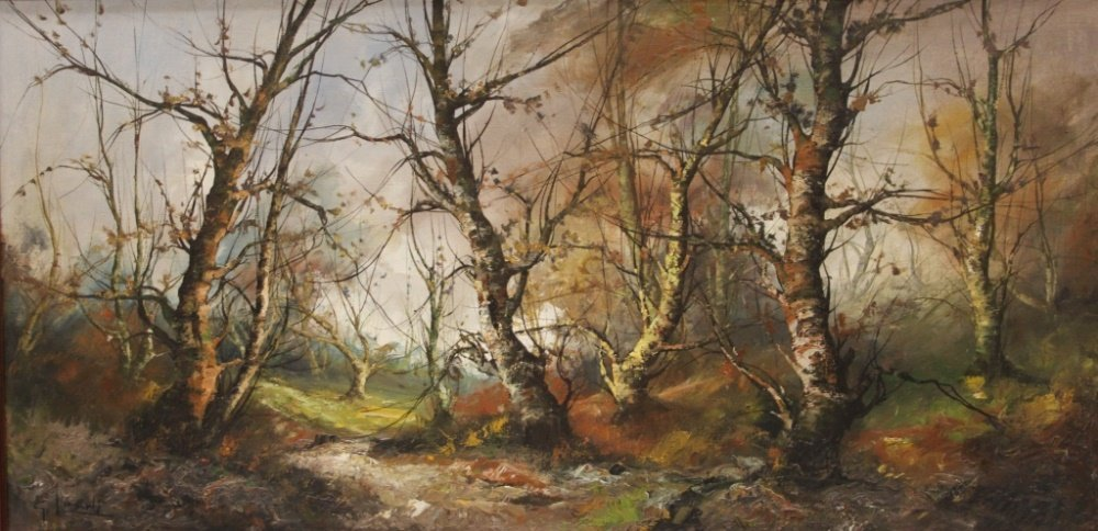 OIL ON CANVAS, WOODED LANDSCAPE, SIGNED