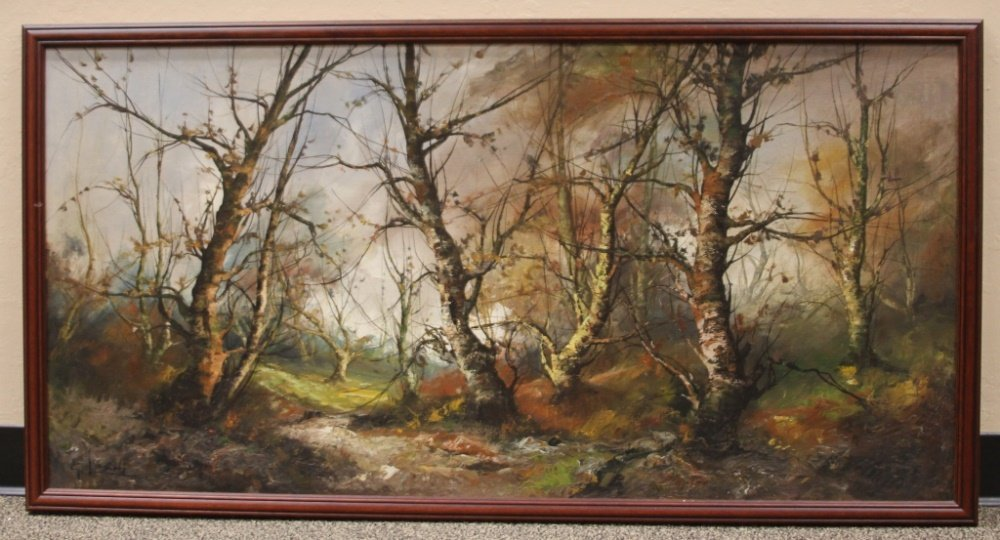 OIL ON CANVAS, WOODED LANDSCAPE, SIGNED - 2
