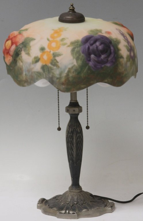 PAIRPOINT STYLE PUFFY LAMP WITH VINTAGE BASE