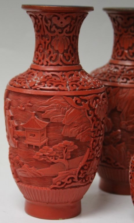 LOT OF (6) CHINESE RED LACQUERED VASES - 2