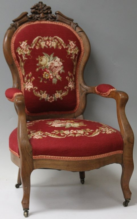 CHILD'S VICTORIAN ROSEWOOD NEEDLEPOINT ARM CHAIR
