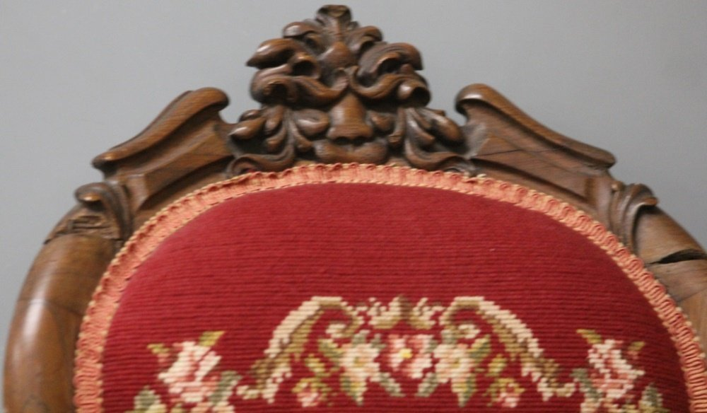 CHILD'S VICTORIAN ROSEWOOD NEEDLEPOINT ARM CHAIR - 2