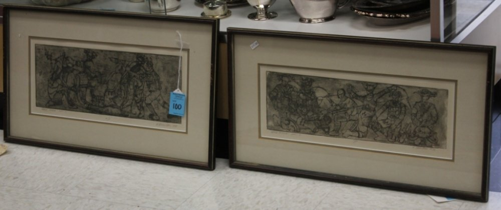 PAIR OF MID-CENTURY LITHOGRAPHS