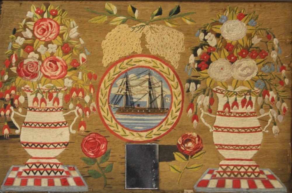 19TH CENTURY NEEDLEPOINT, FRAMED