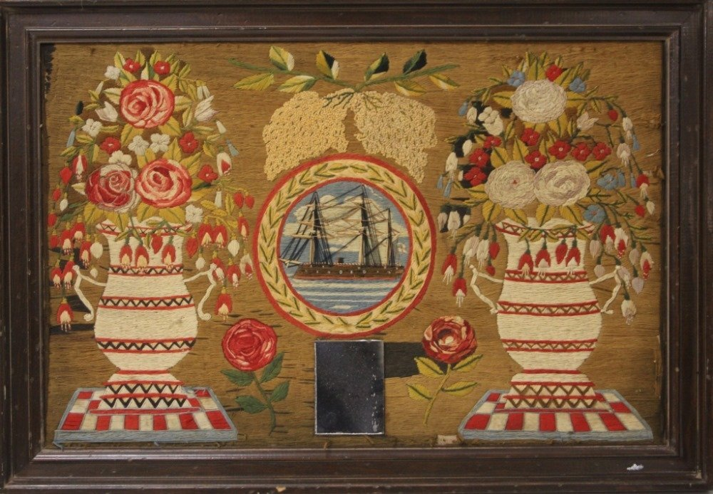 19TH CENTURY NEEDLEPOINT, FRAMED - 2